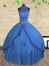 Halter Top Beading Vestidos de Quinceanera Blue Lace Up Sleeveless Floor Length