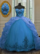 Spectacular Sleeveless Court Train Beading and Embroidery and Pick Ups Lace Up Quinceanera Gowns
