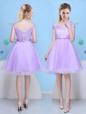 Lavender A-line Bowknot Vestidos de Damas Lace Up Tulle Cap Sleeves Knee Length