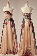 Champagne Strapless Neckline Embroidery Prom Evening Gown Sleeveless Zipper