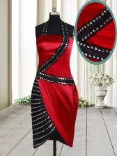 Top Selling Knee Length Red And Black Dress for Prom Halter Top Sleeveless Side Zipper