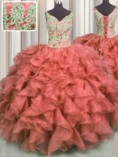 Exquisite Coral Red Ball Gowns Organza V-neck Sleeveless Beading and Ruffles High Low Lace Up 15th Birthday Dress