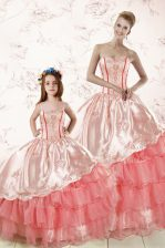Sleeveless Floor Length Embroidery and Ruffled Layers Lace Up Quinceanera Gown with Watermelon Red