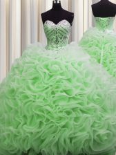 Brush Train Fabric With Rolling Flowers Sleeveless Floor Length Quinceanera Gowns and Beading and Pick Ups