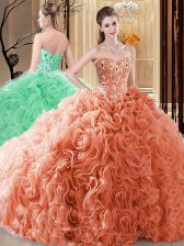 Delicate Fabric With Rolling Flowers Sleeveless Floor Length 15 Quinceanera Dress and Embroidery and Ruffles