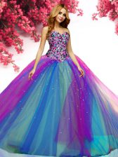 Cute Floor Length Lace Up 15th Birthday Dress Multi-color for Military Ball and Sweet 16 and Quinceanera with Beading