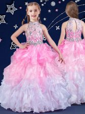 White and Pink And White Ball Gowns Organza Halter Top Sleeveless Beading and Ruffles Floor Length Zipper Little Girl Pageant Gowns