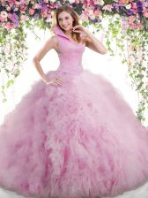 Lilac Tulle Backless High-neck Sleeveless Floor Length Quinceanera Gown Beading and Ruffles