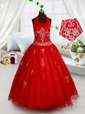 New Style Halter Top Beading and Appliques Kids Formal Wear Red Lace Up Sleeveless Floor Length