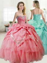 Extravagant Watermelon Red Sleeveless Beading Floor Length Ball Gown Prom Dress