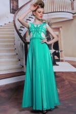 Comfortable Scoop Turquoise Cap Sleeves Floor Length Beading Side Zipper Evening Dress