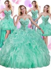 Four Piece Apple Green Lace Up Quince Ball Gowns Beading and Ruffles Sleeveless Floor Length