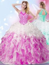 Multi-color Lace Up Halter Top Beading and Ruffles and Pick Ups Quince Ball Gowns Organza Sleeveless