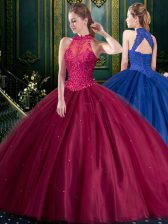 Appliques Quinceanera Gown Burgundy Lace Up Sleeveless Floor Length