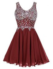 Best Selling Chiffon Sleeveless Knee Length Dress for Prom and Beading