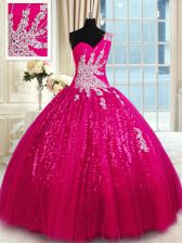 One Shoulder Hot Pink Sleeveless Appliques Floor Length Sweet 16 Dresses