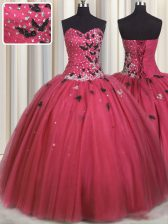 Coral Red Tulle Lace Up 15th Birthday Dress Sleeveless Floor Length Beading and Appliques