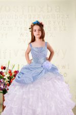 Sleeveless Lace Up Floor Length Beading and Ruffled Layers and Hand Made Flower Child Pageant Dress