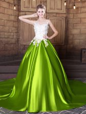Glamorous Scoop Sleeveless With Train Lace and Appliques Lace Up Quinceanera Gowns with Yellow Green Court Train