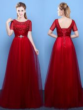 Scoop Wine Red Tulle Lace Up Short Sleeves Floor Length Beading