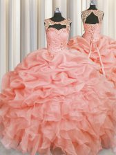 Scoop Sleeveless Organza Floor Length Lace Up Quinceanera Gown in Baby Pink with Beading and Pick Ups