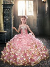 Spaghetti Straps Sleeveless Lace Up Flower Girl Dresses Baby Pink Organza