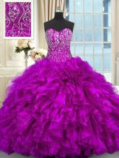 Organza Sleeveless Ball Gown Prom Dress Brush Train and Beading and Ruffles