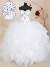 Luxurious White Organza Lace Up Sweetheart Sleeveless Floor Length Sweet 16 Dresses Beading and Ruffles