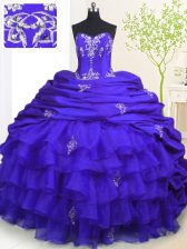 Sleeveless Brush Train Beading and Appliques and Ruffled Layers and Pick Ups Lace Up Sweet 16 Quinceanera Dress