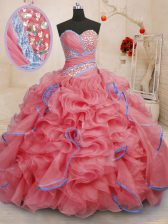Coral Red Ball Gowns Beading and Ruffles Ball Gown Prom Dress Lace Up Organza Sleeveless With Train