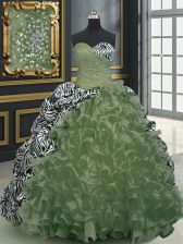 With Train Olive Green Quince Ball Gowns Organza and Printed Brush Train Sleeveless Beading and Ruffles and Pattern