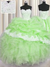 Popular Organza Sweetheart Sleeveless Lace Up Beading and Ruffles and Pick Ups Vestidos de Quinceanera in Green