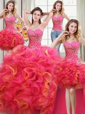 Four Piece Multi-color Sleeveless Beading and Ruffles Floor Length Ball Gown Prom Dress