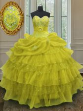 Chic Yellow Sleeveless Beading and Ruffled Layers and Pick Ups Floor Length Sweet 16 Quinceanera Dress
