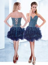 Charming Organza V-neck Sleeveless Lace Up Beading Prom Dresses in Navy Blue