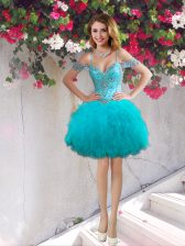 Great Off The Shoulder Sleeveless Lace Up Homecoming Dress Teal Tulle