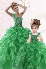 Stylish Green Lace Up One Shoulder Beading and Ruffles Quinceanera Dress Organza Sleeveless