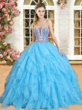 Exquisite Ball Gowns Vestidos de Quinceanera Aqua Blue Sweetheart Organza Sleeveless Floor Length Lace Up