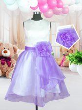 Elegant Lilac Scoop Zipper Hand Made Flower Little Girls Pageant Dress Sleeveless