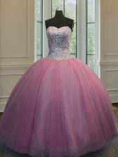 Hot Sale Floor Length Ball Gowns Sleeveless Baby Pink Quinceanera Gown Lace Up