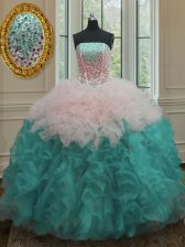 Fabulous Multi-color Strapless Neckline Beading and Ruffles Sweet 16 Dresses Sleeveless Lace Up