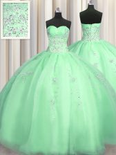 Fashion Puffy Skirt Apple Green Sleeveless Organza Zipper 15th Birthday Dress for Military Ball and Sweet 16 and Quinceanera