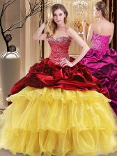 Floor Length Lace Up Quinceanera Dress Multi-color for Military Ball and Sweet 16 and Quinceanera with Beading and Ruffles