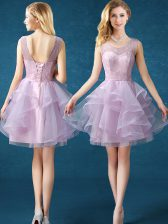 Popular Pink Lace Up Scoop Lace Quinceanera Dama Dress Organza and Tulle Sleeveless