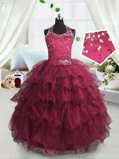 Scoop Watermelon Red Ball Gowns Beading and Ruffled Layers Pageant Gowns For Girls Lace Up Organza Sleeveless Floor Length