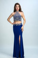 Unique Halter Top Royal Blue Sleeveless Floor Length Beading Backless Evening Dress
