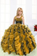 High Quality Multi-color Straps Lace Up Beading and Ruffles Kids Pageant Dress Sleeveless