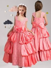 Customized Watermelon Red Taffeta and Lace Zipper Straps Cap Sleeves Floor Length Toddler Flower Girl Dress Pick Ups and Bowknot and Hand Made Flower