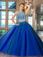 Royal Blue Quinceanera Gown Military Ball and Sweet 16 and Quinceanera with Beading Scoop Sleeveless Backless