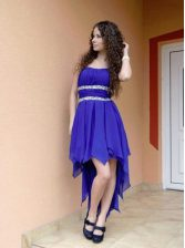 Smart Royal Blue Sleeveless Chiffon Zipper Evening Dress for Prom and Party
